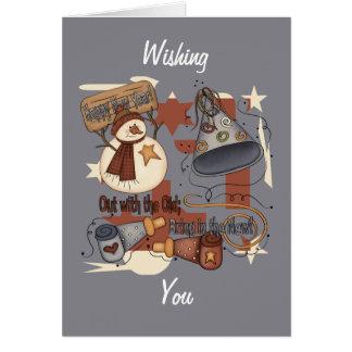 Hacia fuera con el viejo traiga en el nuevo tarjeta de felicitación