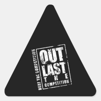 Hacia fuera dure la competencia - negro pegatina triangular