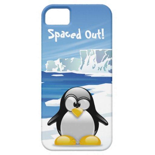 Hacia fuera espaciado pingüino iPhone 5 carcasas
