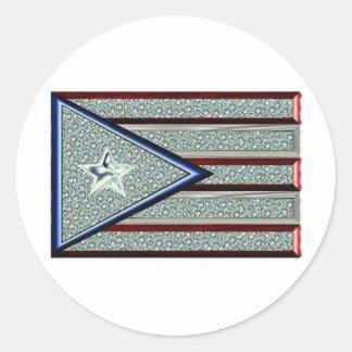 Hacia fuera helada bandera puertorriqueña etiquetas redondas