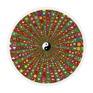 Hacia fuera Hippie lejano Yin Yang Láminas De Glaseado Redondas