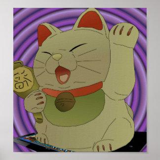 Hacia fuera oscilado neko del maneki póster