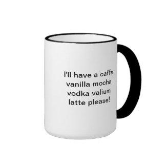 Hacia fuera subrayada taza de café