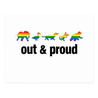 Hacia fuera y orgulloso - GLBTQ Tarjetas Postales