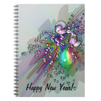 Haciendo estallar el corcho - burbujas del Año Nue Cuaderno