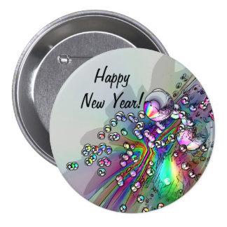 Haciendo estallar el corcho - burbujas del Año Pin Redondo De 3 Pulgadas