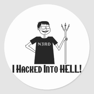 Hacked Into Hell Classic Round Sticker