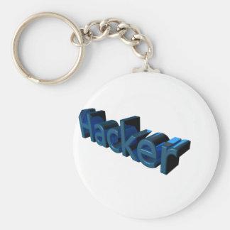 Hacker Basic Round Button Keychain