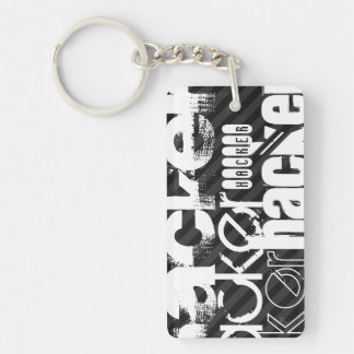Hacker; Black & Dark Gray Stripes Double-Sided Rectangular Acrylic Keychain