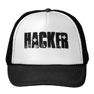 Hacker ( Black Print/White cap) Mesh Hats