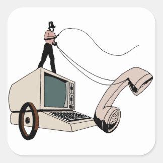 Hacker coachman square sticker