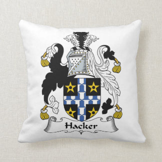 Hacker Family Crest Throw Pillow