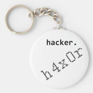 Hacker h4x0r basic round button keychain
