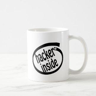 Hacker inside coffee mug