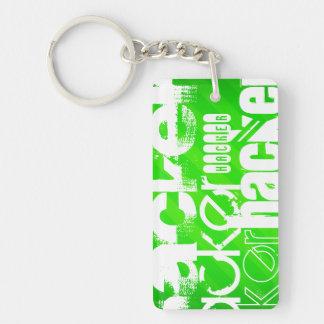 Hacker; Neon Green Stripes Double-Sided Rectangular Acrylic Keychain