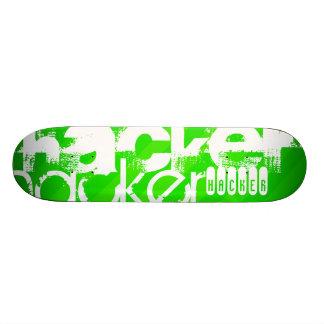 Hacker; Neon Green Stripes Skateboard Deck