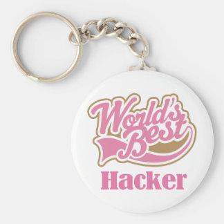 Hacker Pink Gift Basic Round Button Keychain
