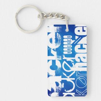 Hacker; Royal Blue Stripes Double-Sided Rectangular Acrylic Keychain