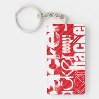 Hacker; Scarlet Red Stripes Double-Sided Rectangular Acrylic Keychain