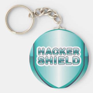 Hacker Shield Basic Round Button Keychain