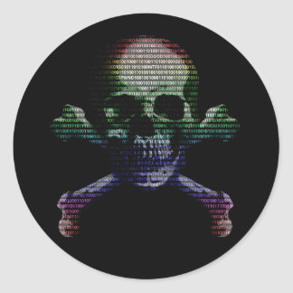 Hacker Skull and Crossbones Classic Round Sticker