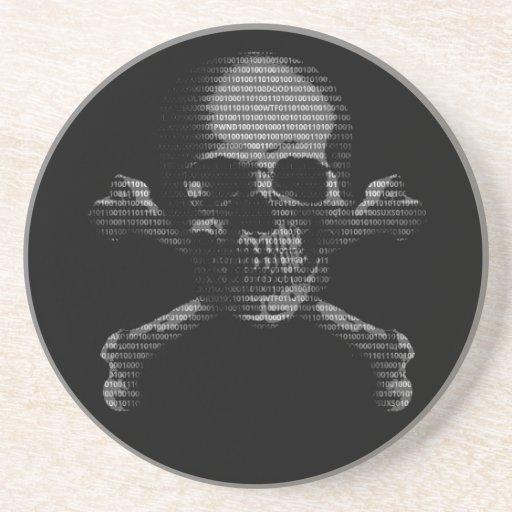 Hacker Skull and Crossbones Coaster