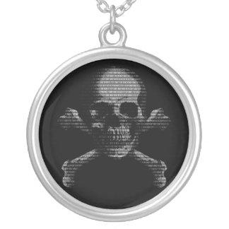 Hacker Skull and Crossbones Round Pendant Necklace