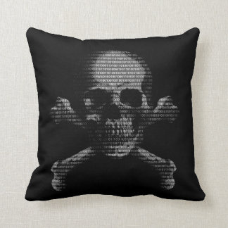 Hacker Skull and Crossbones Throw Pillows