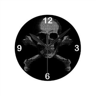 Hacker Skull and Crossbones Round Clock