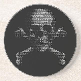 Hacker Skull and Crossbones Sandstone Coaster