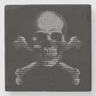 Hacker Skull and Crossbones Stone Coaster