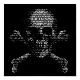 Hacker Skull and Crossbones Perfect Poster