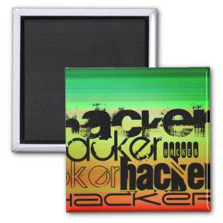 Hacker; Vibrant Green, Orange, & Yellow 2 Inch Square Magnet