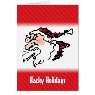 Hackin Santa Funny Cartoon Card