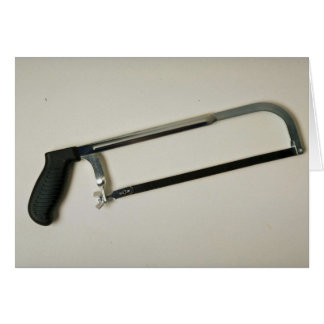 Hacksaw tool to cut metals greeting card