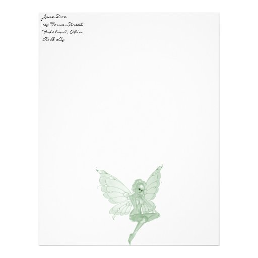 Hada 12B del verde de la firma del arte del ajenjo Membrete