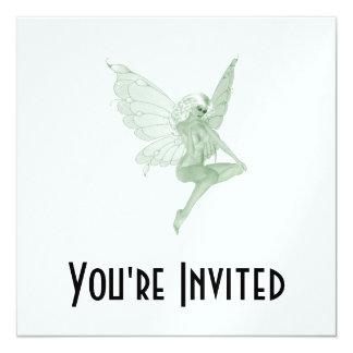 Hada 1A del verde de la firma del arte del ajenjo Invitaciones Personalizada
