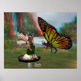 hada 3D y mariposa Póster