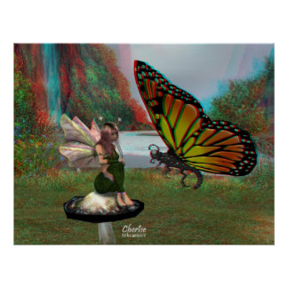 hada 3D y mariposa Posters