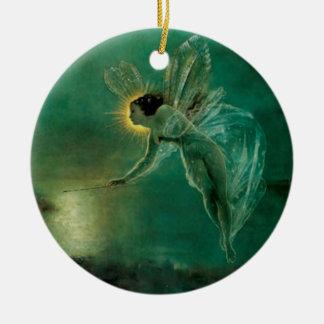 Hada - alcohol de la noche - ornamento adorno navideño redondo de cerámica