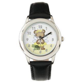 Hada amarilla del oso de peluche relojes de pulsera