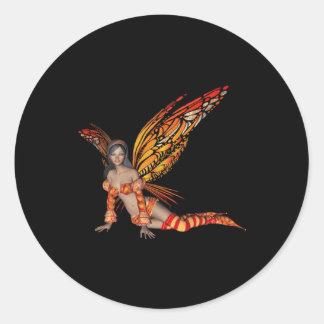 Hada anaranjada 3 de la mariposa del duendecillo pegatina redonda