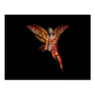 Hada anaranjada 7 de la mariposa del duendecillo d tarjetas postales