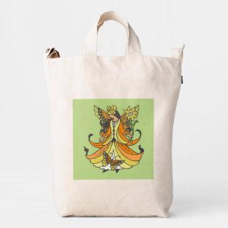 Hada anaranjada de la mariposa con el vestido que bolsa de lona duck