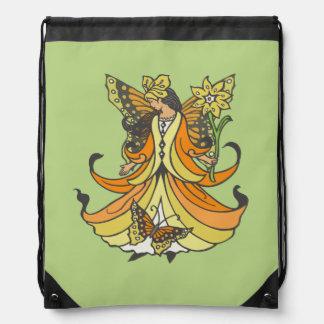 Hada anaranjada de la mariposa con el vestido que mochilas