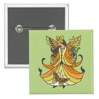 Hada anaranjada de la mariposa con el vestido que pin cuadrada 5 cm