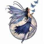 Hada azul con el ornamento de la escultura de las  esculturas fotograficas