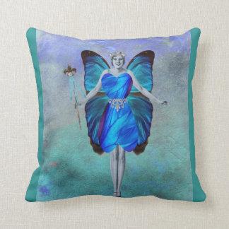 Hada azul de la mariposa cojines