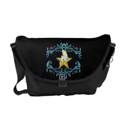 Hada azul en la bolsa de mensajero amarilla de la  bolsas de mensajeria
