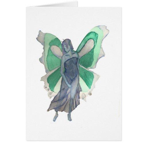 Hada azul y verde melancólica - acuarela tarjeta de felicitación